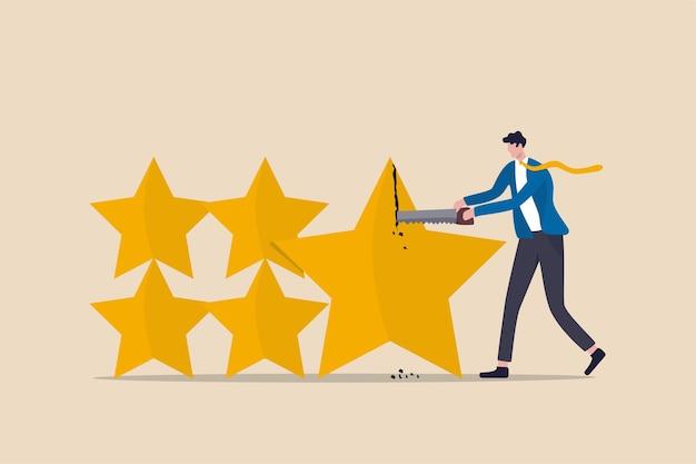 投資評価の格下げ、住宅ローンや債券のクレジットスコア、または企業ローンのコンセプト、ビジネスマンのクレジットスコアのスタッフが星を切って格下げまたはスコアを下げる。