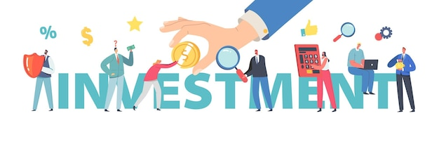 투자 수익 개념입니다. 사람들은 돈, 재정 이익, 성장을 절약합니다. 작은 비즈니스 캐릭터는 거대한 동전이나 지폐, 재정적 부 포스터, 배너 또는 전단지를 수집합니다. 만화 벡터 일러스트 레이 션