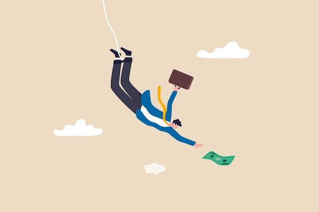 Investment risk, business challenge, adversity or take risk to earn more income, greed and fear in stock market downfall concept, skillful confident businessman bungee jumping to grab money banknote.