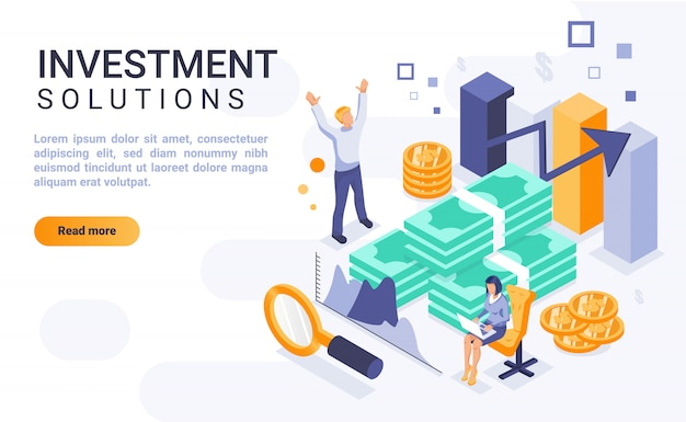 Investment solutions landing page banner  with isometric illustration