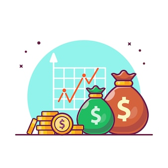 Investment statistic with money illustration. growth investment finance, business icon concept white isolated.