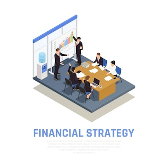Investment strategies of fund managers isometric composition with financial growth benefits and risks evaluating presentation