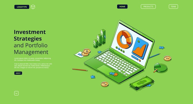 Investment strategies and portfolio management isometric landing page
