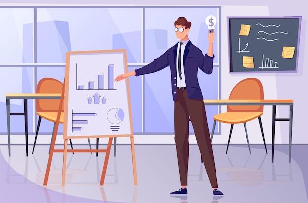 사무실 풍경과 막대 차트가 있는 보드를 가리키는 남성 캐릭터가 있는 투자 전략 평면 구성