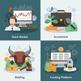 Investment and trading design concept with broker bidding market rate venture capital images flat vector illustration