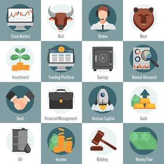 Investment and trading flat icons set for web design with bull bear broker gold oil bidding symbols isolated vector illustration