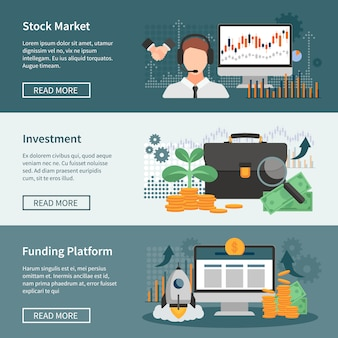 Investment and trading horizontal banners set