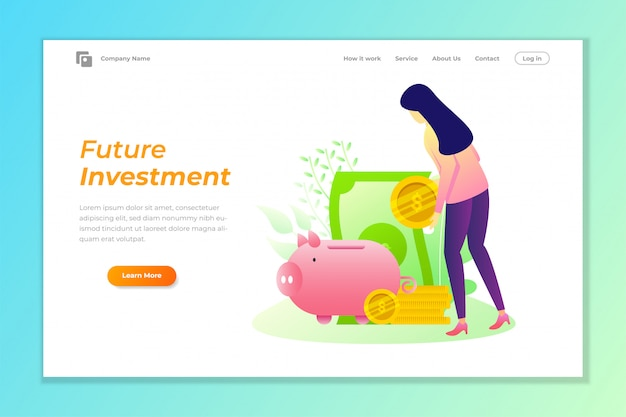 Investment web banner background with piggy bank vector illustration