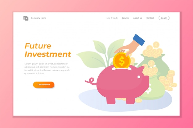 Investment web banner background with piggy bank
