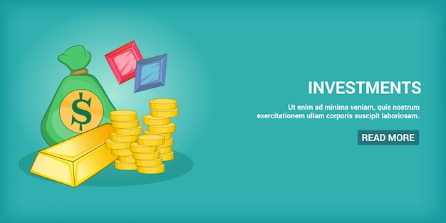 Investments banner horizontal, cartoon style
