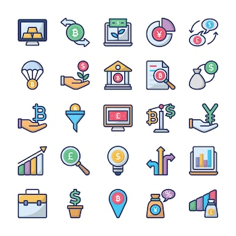 Investments and finance icons collection