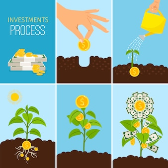 Investments process and financial business growth concept