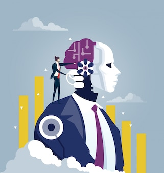 Investor and artificial intelligence concept