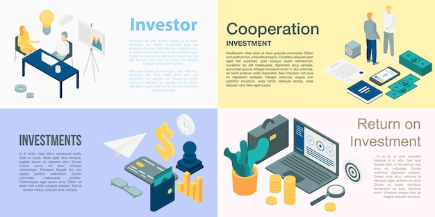 Investor banner set, isometric style
