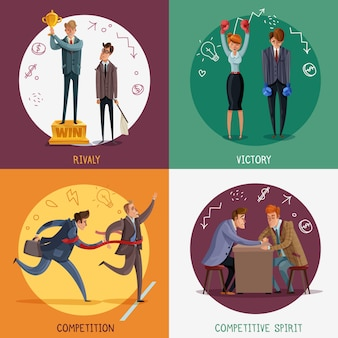 Investor business winner loser characters concept with doodle style people and sketch pictograms with text