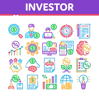 Investor financial collection icons set