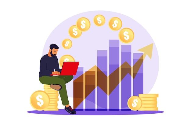 Человек-инвестор с ноутбуком, отслеживающий рост дивидендов. трейдер вкладывает капитал, анализируя графики прибыли. плоская иллюстрация.