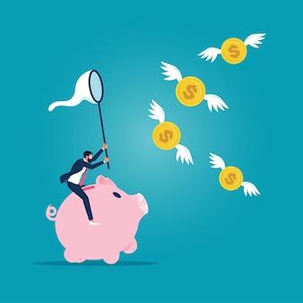 투자자 또는 사업가가 돼지 저금통을 타고 날아다니는 달러 동전 돈을 잡습니다.