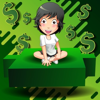 Investor sit on green candlestick.