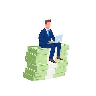 투자자 돈 평면 개념 그림의 더미에 앉아. 성공적인 회사원. 웹 디자인을위한 노트북 2d 만화 캐릭터에서 일하는 직원. 돈 버는 온라인 창의적인 아이디어