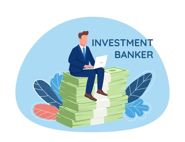Investor sitting on pile of money 2d web banner, poster. investment banker phrase. flat character on cartoon background. businessman working at laptop printable patch, colorful web element
