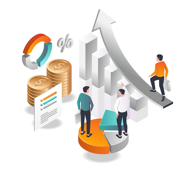 An investor walks to success in isometric illustration
