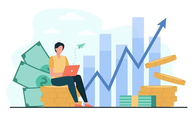 Инвестор с ноутбуком следит за ростом дивидендов. трейдер сидит на стопке денег, вкладывает капитал, анализирует графики прибыли. векторная иллюстрация для финансов, фондовой торговли, инвестиций