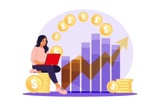 Investor woman with laptop monitoring growth of dividends