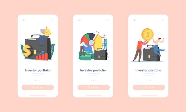 投資家ポートフォリオモバイルアプリページオンボード画面テンプレート。巨大なブリーフケースと円グラフの小さなキャラクター。株式市場の専門的な取引の概念を投資します。漫画の人々のベクトル図