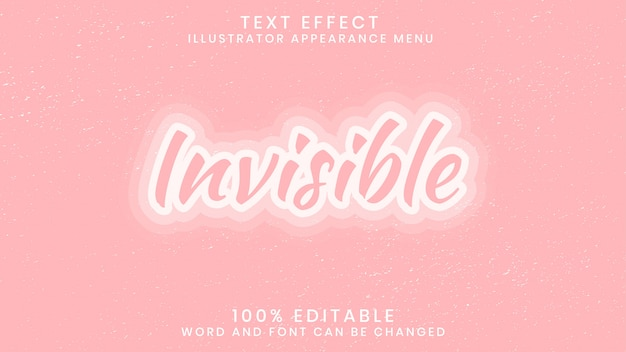Invisible editable text effect style template