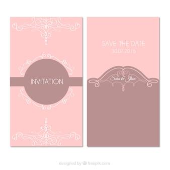 Invitación de boda rosa con ornamentos