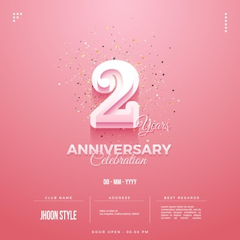 Invitation to the 2nd anniversary party with the inclusion of a door open