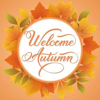 Biglietto d'invito e annuncio con cornice floreale con foglie autunnali e testo welcome autumn