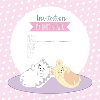 Invitation baby shower card cat and mouse kawaii cartoon