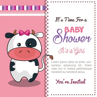 Invitation baby shower card with cow desing
