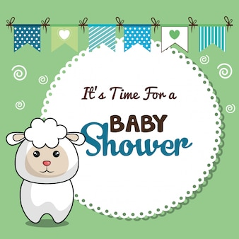 Invitation baby shower card with sheep desing