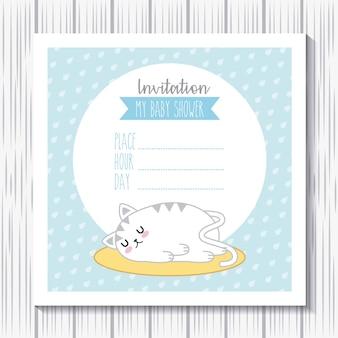 Invitation baby shower rabbit kawaii sleep cartoon card