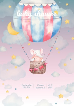 Invitation baby shower, watercolor illustration, cute elephant in a balloon in the stars and clouds