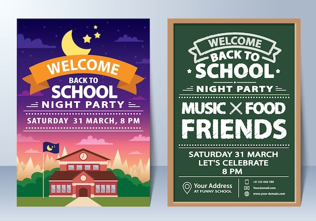 Invitation of back to school night party template