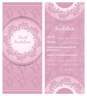 招待状の背景、結婚式のグリーティングカード、ベクトルイラスト10eps