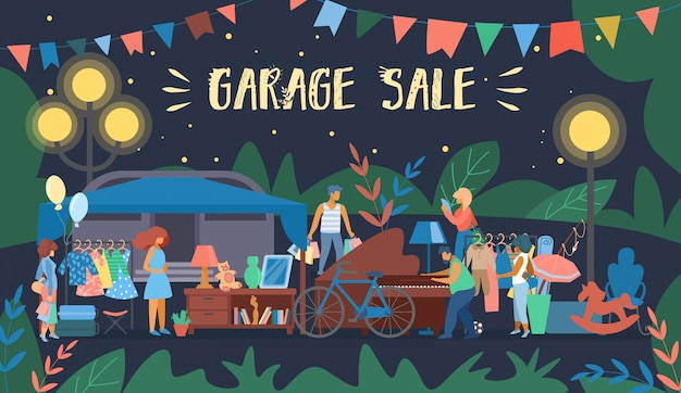 Invitation banner is written garage sale cartoon
