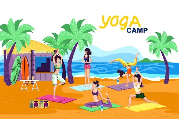 Invitation banner is written yoga camp cartoon