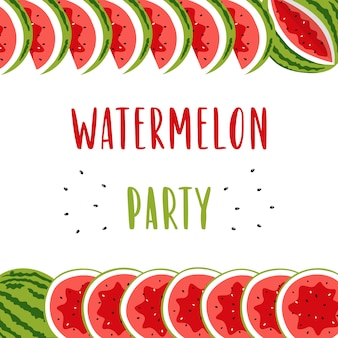 Invitation banner for summer party with cute watermelon.