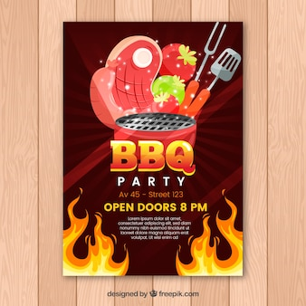 Invitation to the bbq party in flat design