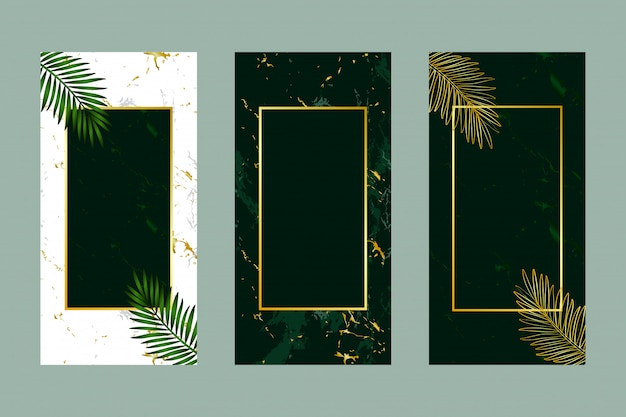 Invitation card background green leaf gold marble