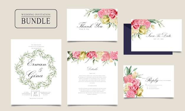 Invitation card bundle with watercolor floral and leaves template
