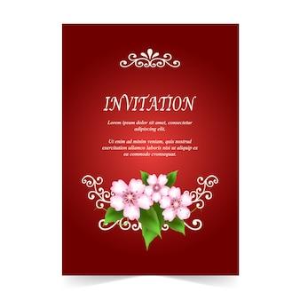Пригласительный билет цветок вишни на красном фоне