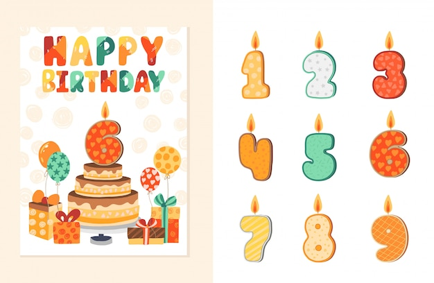 Invitation card for a child party. happy birthday template with additions elements.  illustration.
