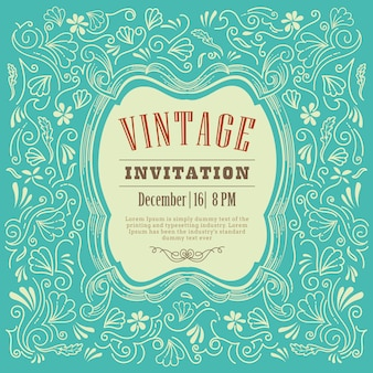 Invitation card design vintage template vector