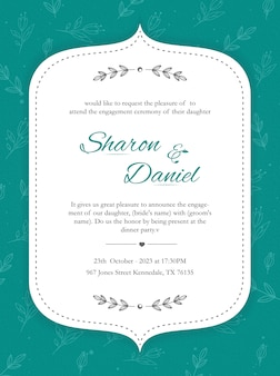 Invitation card design with floral pattern